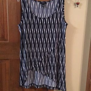 Alfani Navy and White Sleeveless Top Sixe Medium